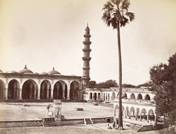 Shah Alam, portion of mosque showing one minaret of two, Ahmedabad.